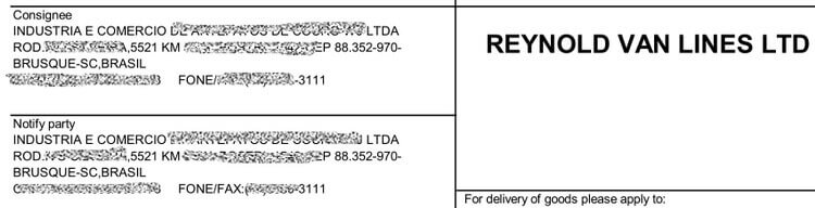 Import on own -Consignee-Bill of lading