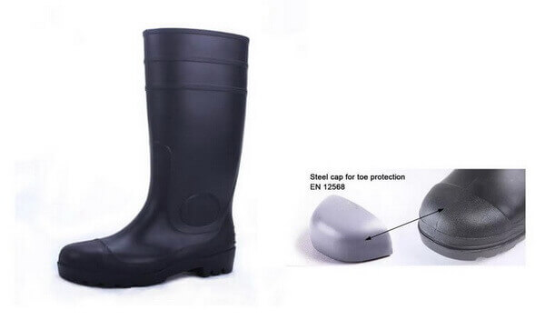 Safety rain boots with steel cap