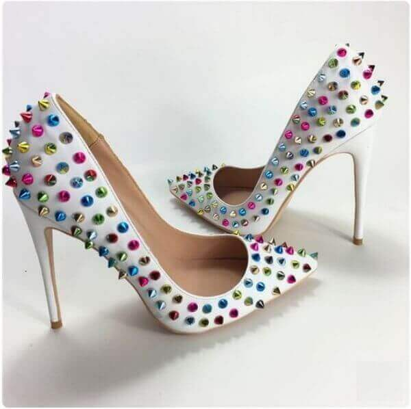high heel shoes with rivets