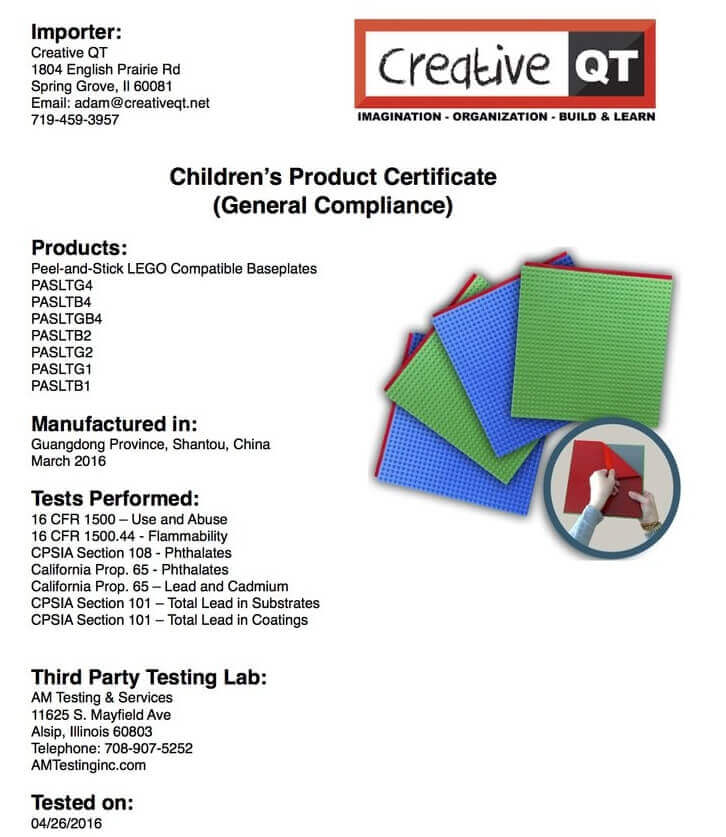 children Product Certificate