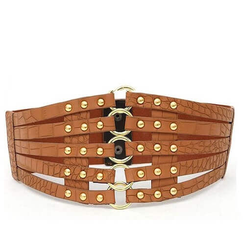 leather elastic-wide belts